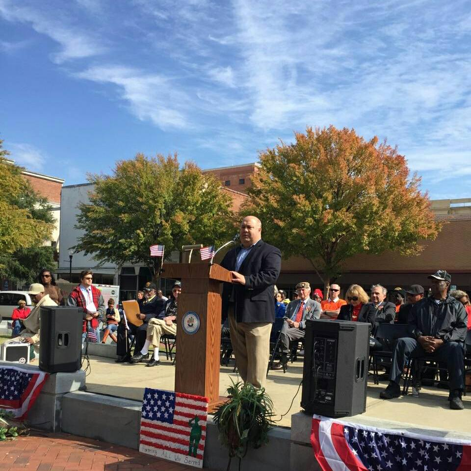 "Mayor F.L. ""Bubba"" Copeland, representing the City of Smiths Station at the Columbus Veterans day Celebration."